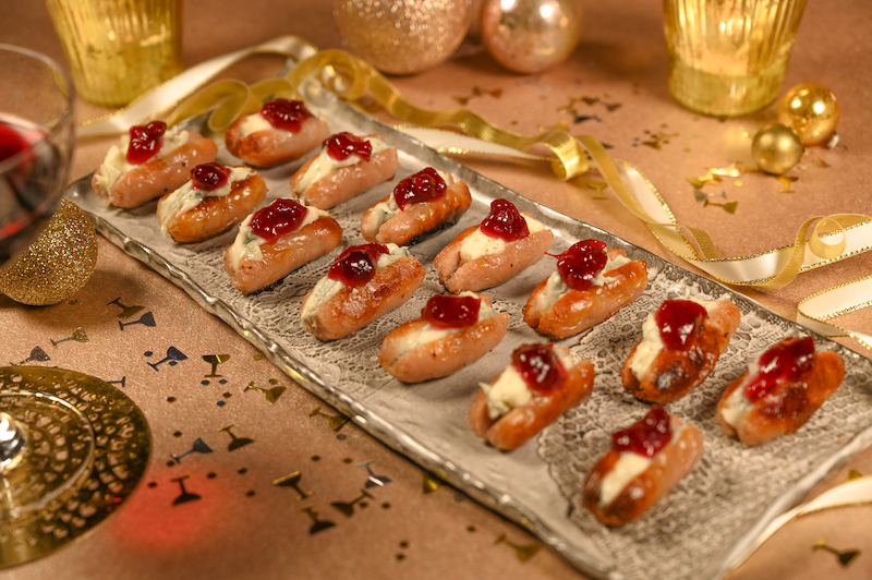 Blue Cheese & Cranberry Sausages Canapes on a Tray