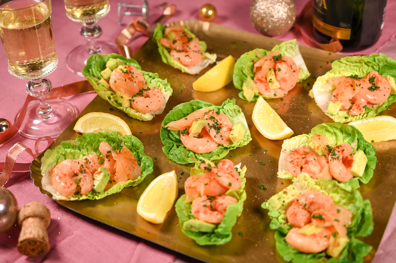 Kind Prawn & Avocado Lettuce Cups Canapes on a gold tray