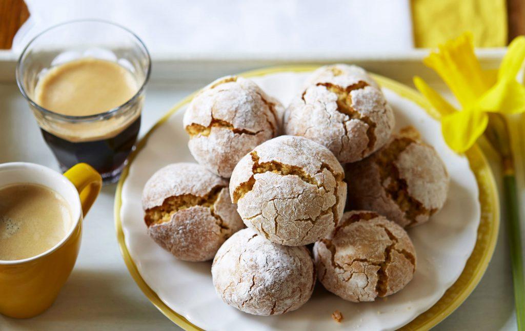 a plate of Sicilian amaretti biscuits